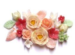 "Photo1: Clay Art Bead set ""gem color flowers"" Coral color"