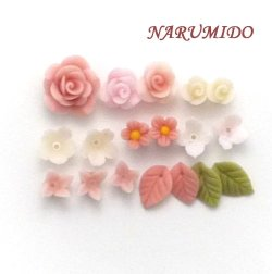 "Photo1: Clay Art Bead set ""rose&small flower"" pink"