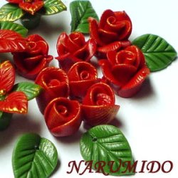 """Photo2: Clay Art Bead set """"Poinsettia and rose""""normal color"""