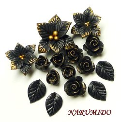 "Photo1: Clay Art Bead set ""Poinsettia and rose""black color"