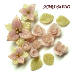 """Photo1: Clay Art Bead set """"Poinsettia and rose""""pink color"""