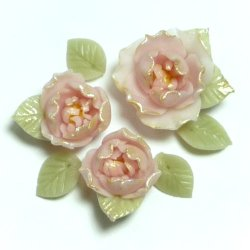 "Photo1: Clay Art Bead set ""Peach blossom""fancy pink color"