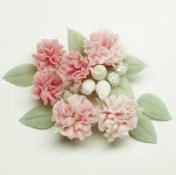 """Photo1: Clay Art Bead set """"Carnation""""pink color"""