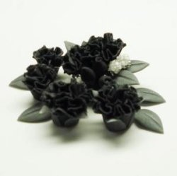 "Photo2: Clay Art Bead set ""Carnation""black color"
